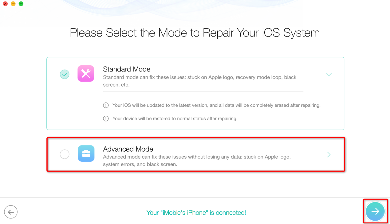 How to Fix iTunes Error 29 by Restoring iOS System via PhoneRescue - Step 3