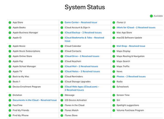 Check if Apple servers are down