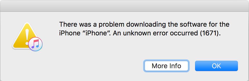 iTunes Error 1671