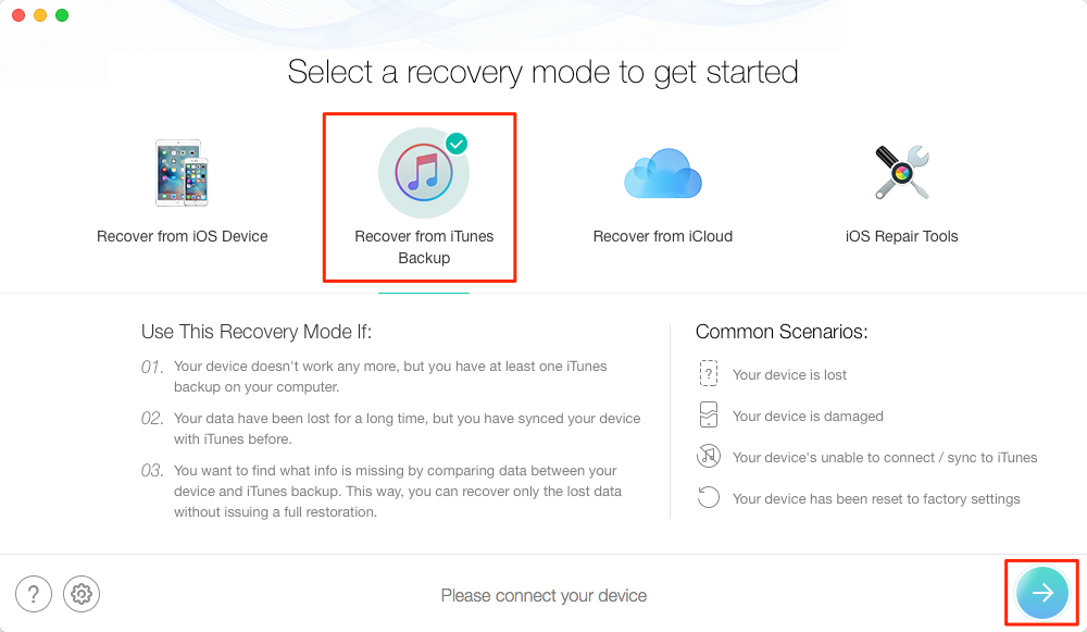 How to Restore iOS Device from iTunes Backup with PhoneRescue - Step 2