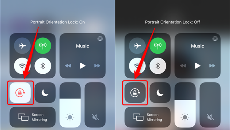 Tap Portrait Orientation Lock Button and Turn it off