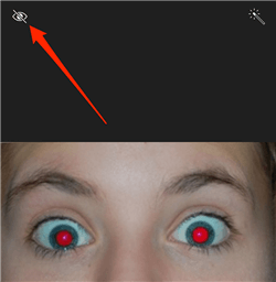 Choose the red eye removal tool