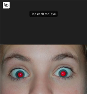Tap and fix red eyes