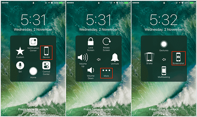How to Fix iPhone iPad Can't Take Screenshot with Assistive Touch
