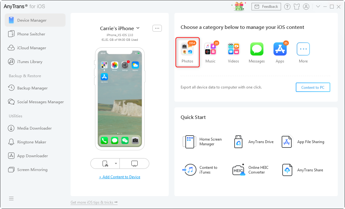 Manage Screenshots on iPhone with AnyTrans - Step 1