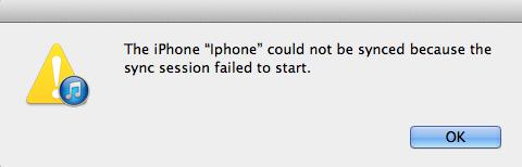 iPhone Sync Session Failed to Start
