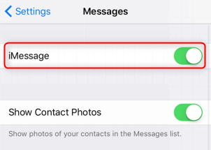 How to Fix Unable to Share Message on iPhone - Turn on iMessage on your iPhone