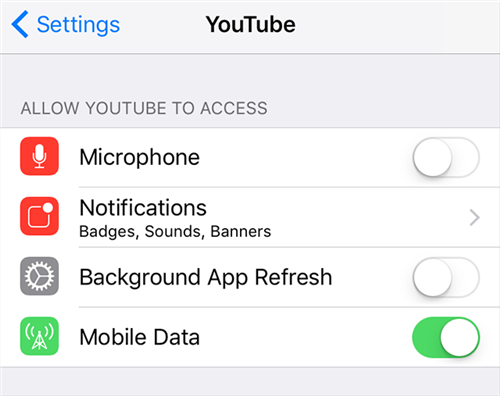 Enable Internet for the YouTube app on your device