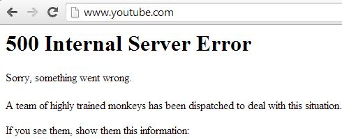 YouTube Internal Server Error