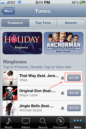 Buy a ringtone – Step 3