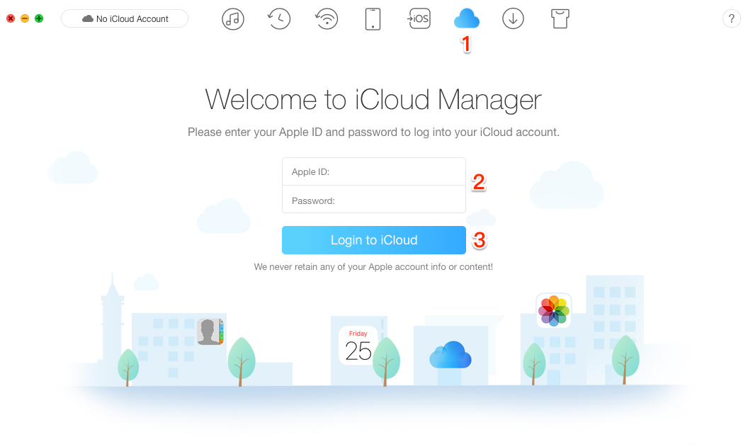 How to Get Backup from iCloud via AnyTrans – Step 1
