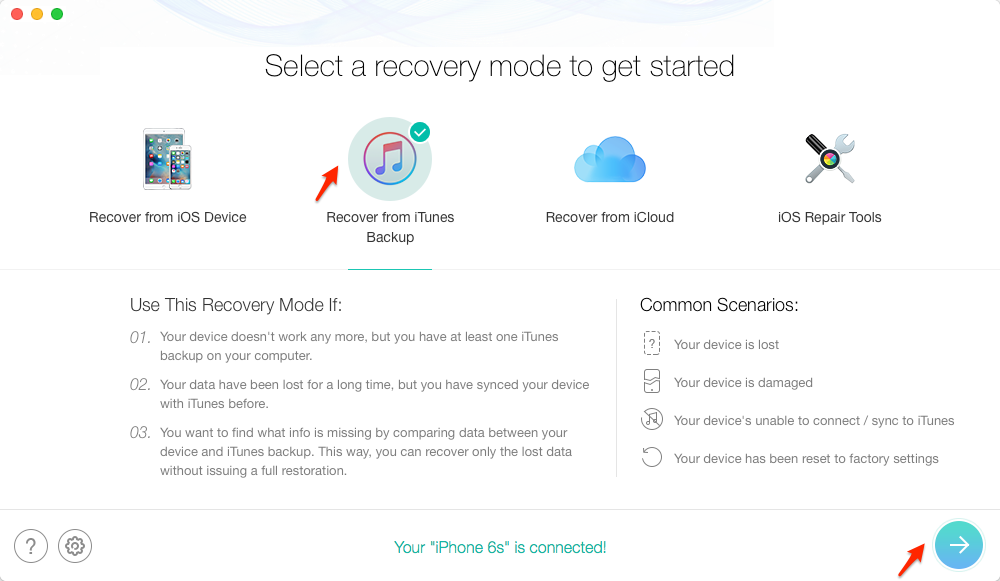 Get Data Off Broken iPhone with PhoneRescue – iOS Data Recovery – Step 1