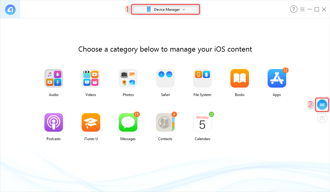 Access categories of device manager in the AnyTrans for iOS app