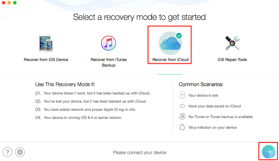 How to Download Pictures from iCloud Backup - Step 1