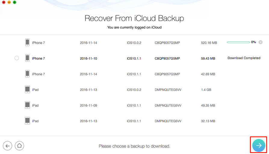 How to Download Pictures from iCloud Backup - Step 2