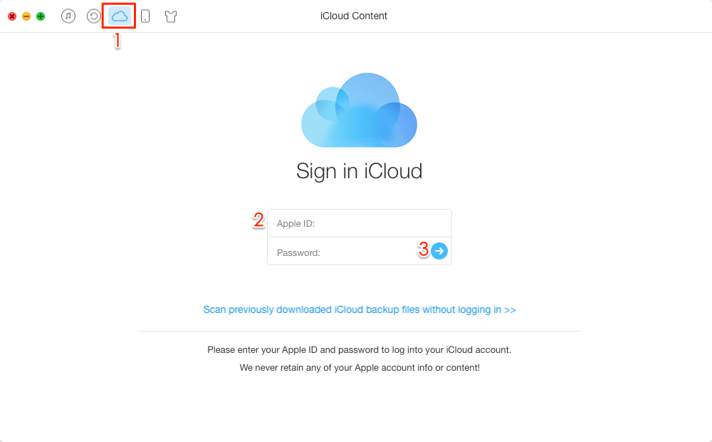 How to Get Text Messages from iCloud with AnyTrans – Step 1
