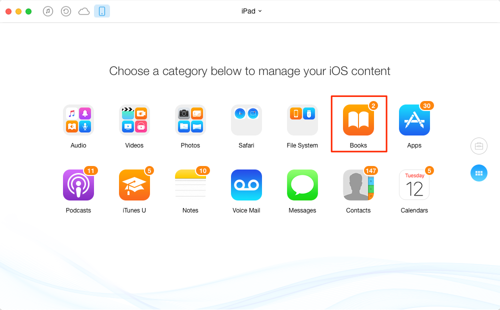 Transfer iBooks from iPad to iPhone – Step 1