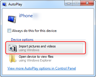 Import Photos from iPhone to HP Laptop with AutoPlay