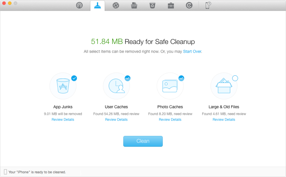 Speed up iCloud Backup – Cleaning iDevice with PhoneClean