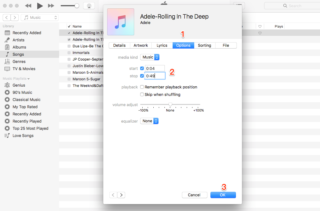 Set the Start and End Ringtone Time in iTunes