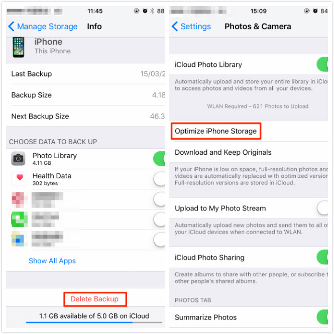 Delete Backup and Optimize iPhone Storage – Screen Overview