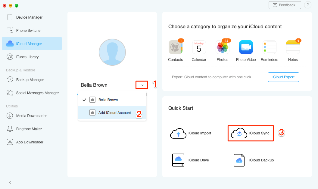 How to Merge Two or Multiple iCloud Accounts with AnyTrans – Step 3