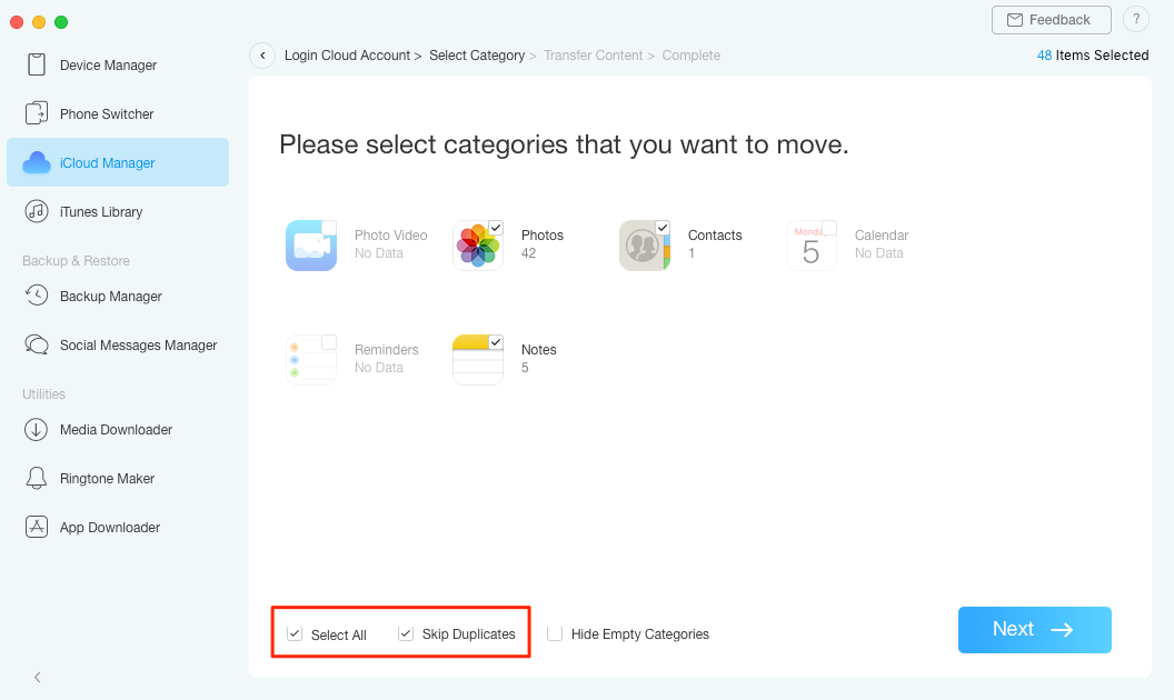 How to Merge 2 or More iCloud Accounts with AnyTrans – Step 5