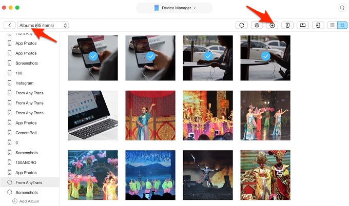 Move Photos from Camera Roll to Album with AnyTrans – Step 3