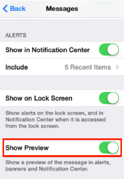 How To Not Show Messages Preview on iPhone via Message Preview
