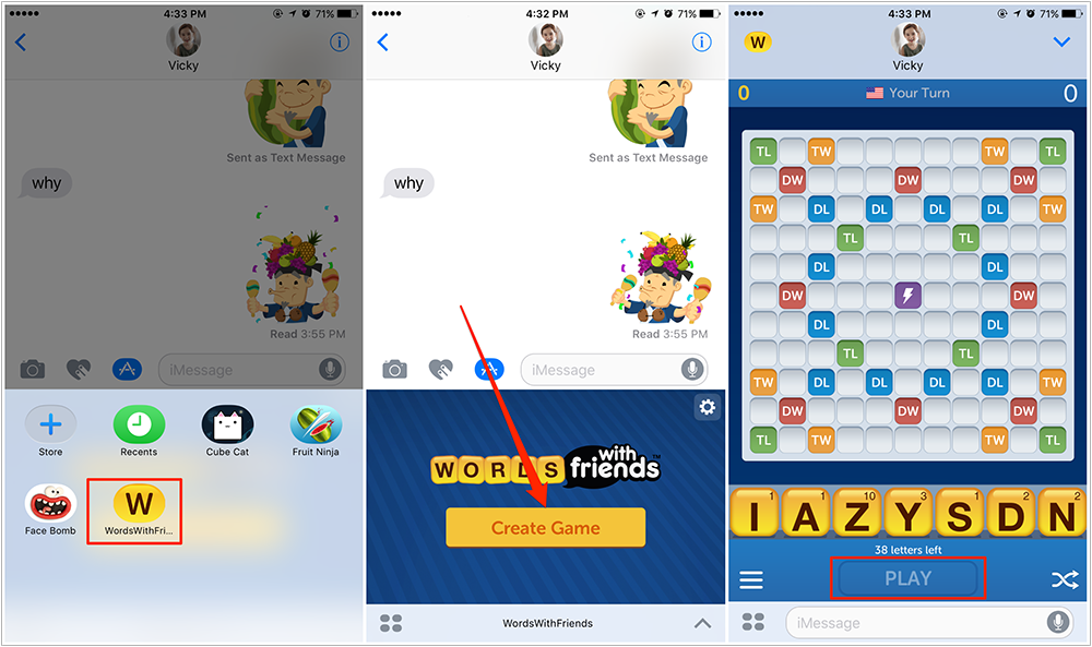 How to Play a Game in iMessage – Screen Overview