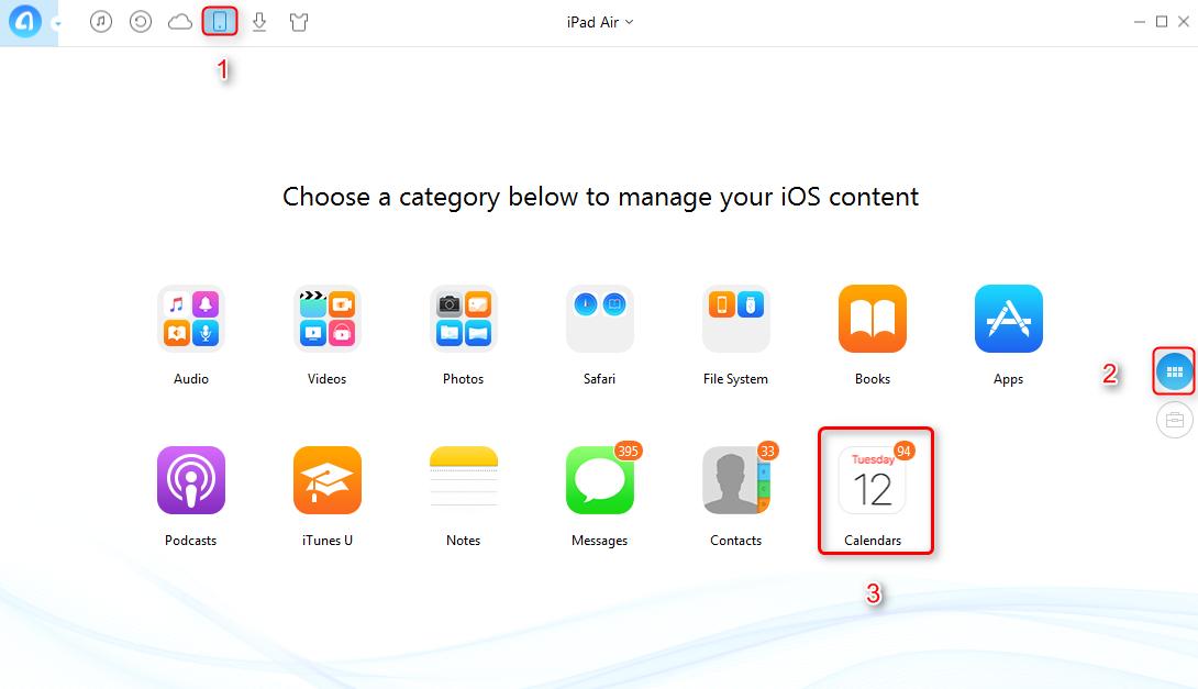 How to Print iPad Calendar on PC/Mac - Step 2