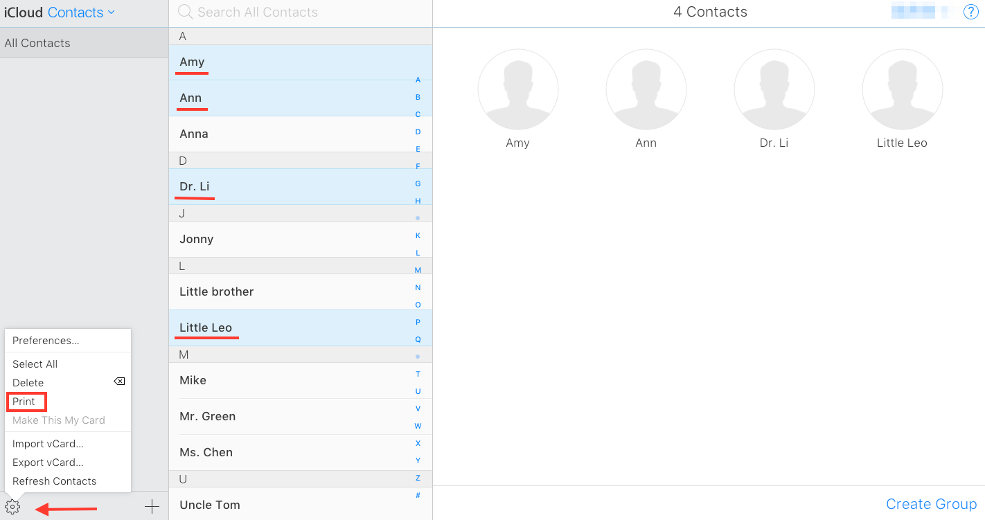 How to Print Contacts from iCloud Directly - Step 2