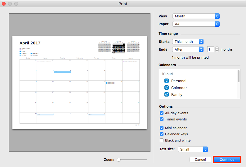 How to Print iCloud Calendar on Mac - Step 2