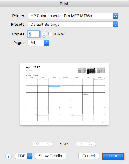 How to Print iCloud Calendar on Mac - Step 3