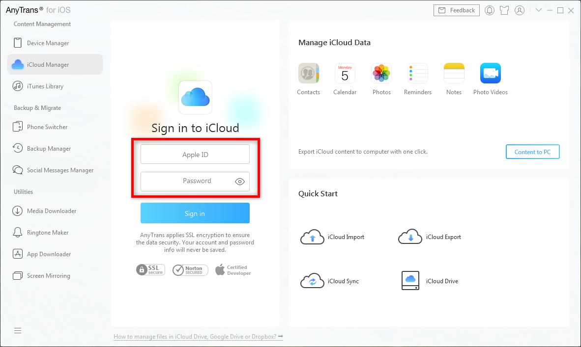 Print iCloud Calendar on Mac/PC with AnyTrans – Step 1