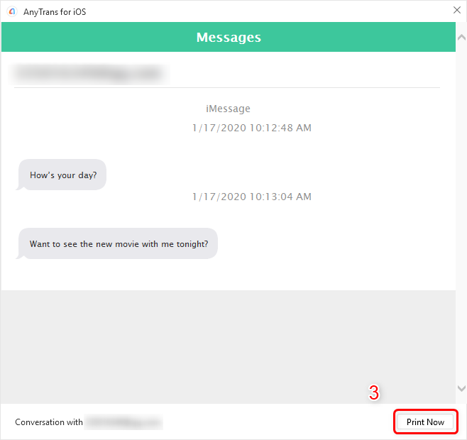 Confirm the Messages and Print Now
