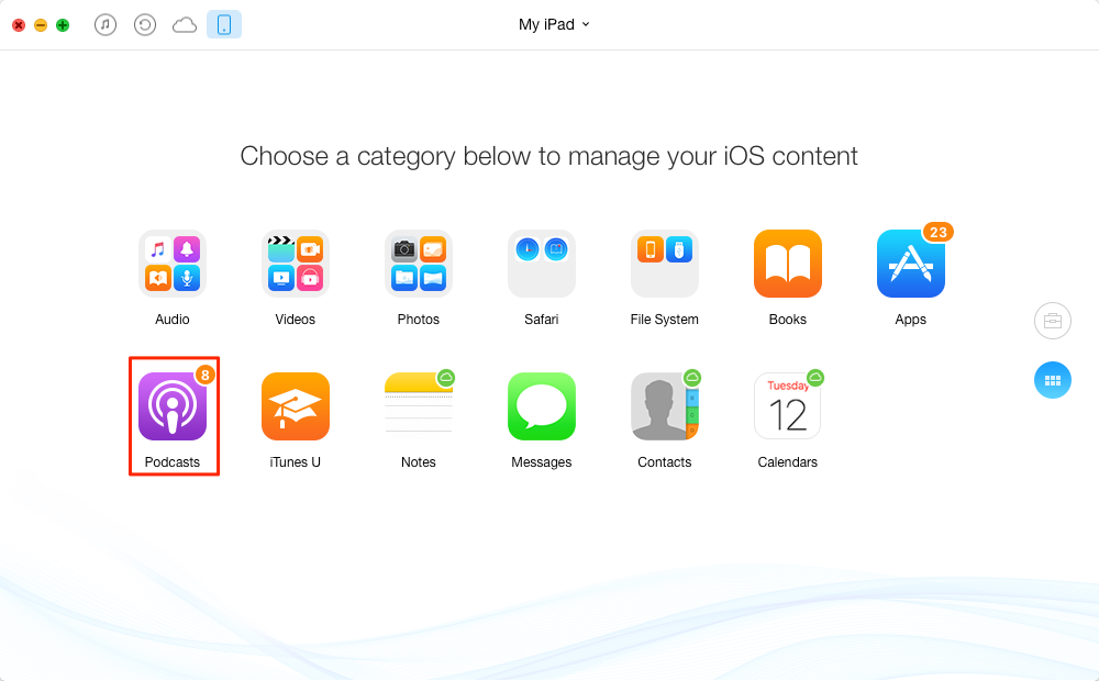 How to Put Podcasts on iPad with AnyTrans – Step 1
