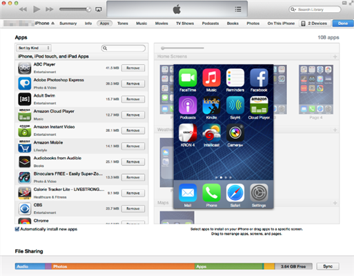 How to Rearrange Apps/Icons on iPhone via iTunes- Step 2
