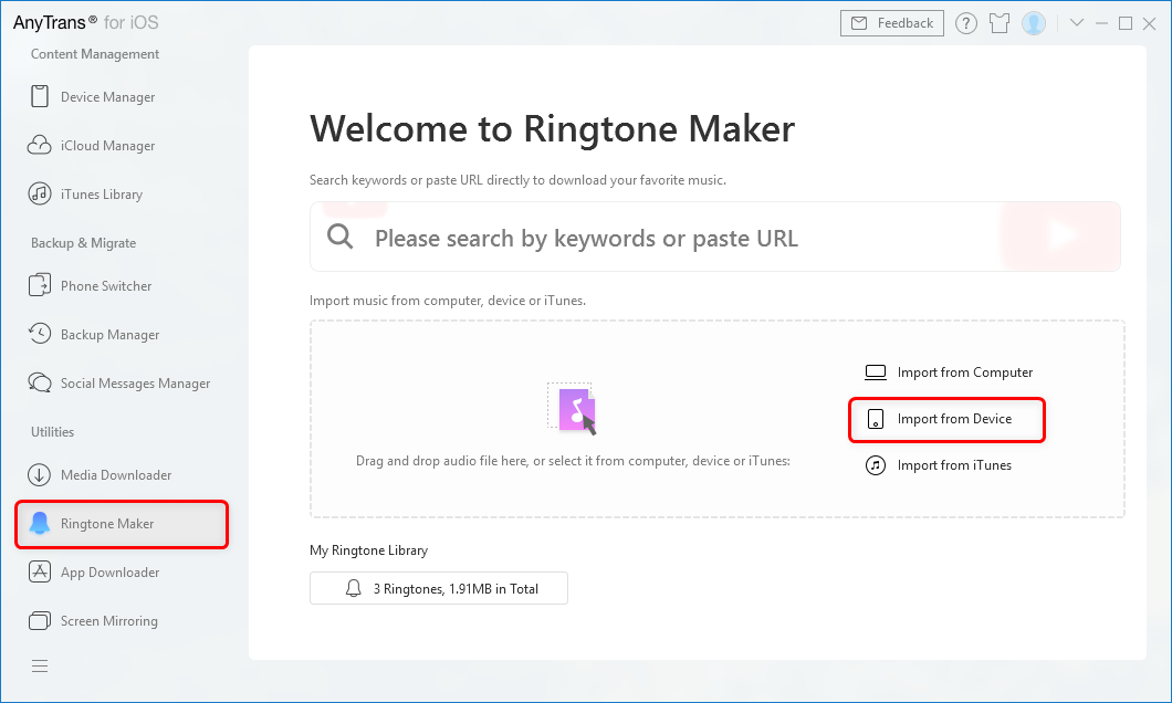 Tab Ringtone Maker and Import the File