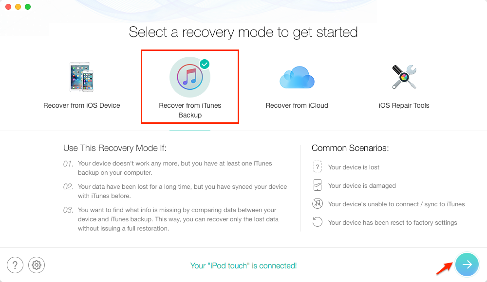 Recover Data from Water Damaged iPhone via iTunes Backup - Step 1