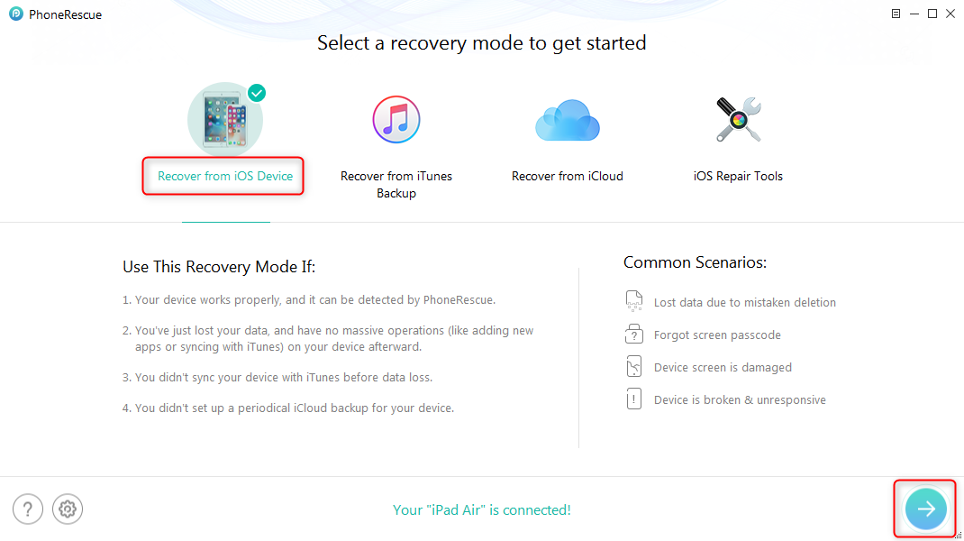 How to Recover Deleted Calendars from iPad without Backup – Step 1