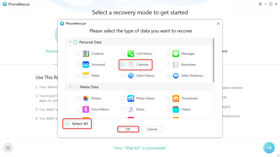 How to Recover Deleted Calendars from iPad without Backup – Step 2
