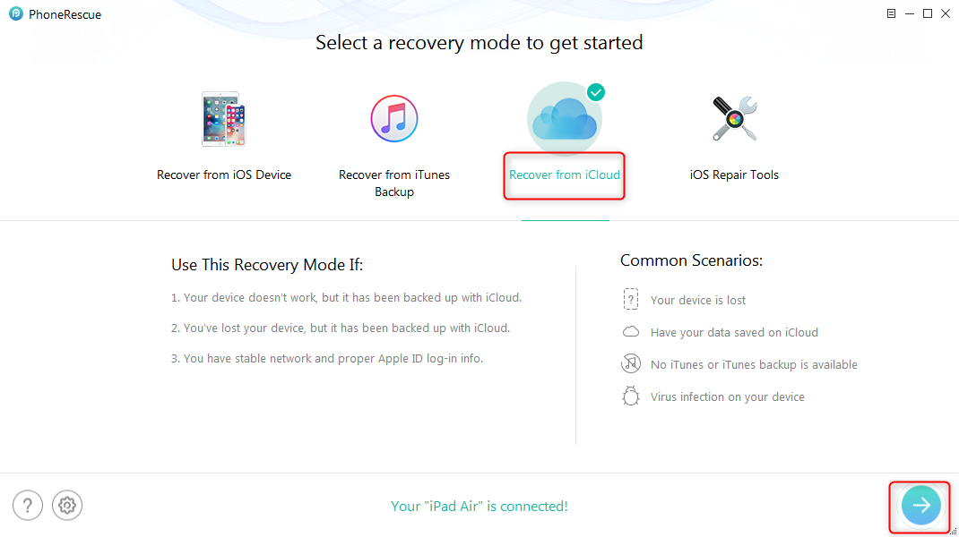 How to Recover Deleted Calendars from iPad with iCloud Backup – Step 1