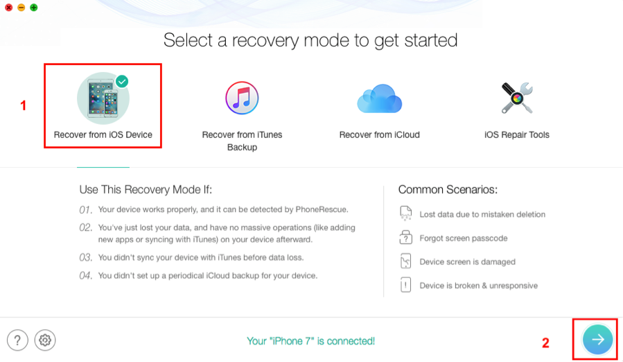 How to Recover Lost iPhone 7 Contacts with PhoneRescue – Step 1
