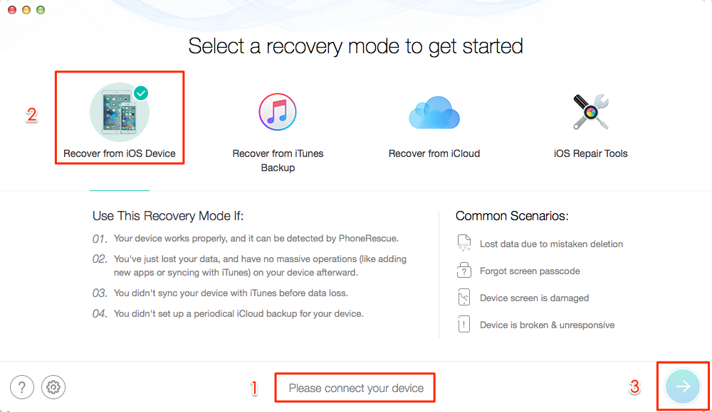 How to Recover Deleted Files from iPhone with PhoneRescue - Step 1