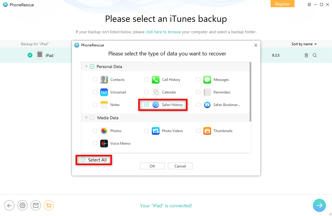 Recover Deleted Safari History from iTunes Backup on iPad - Step 2
