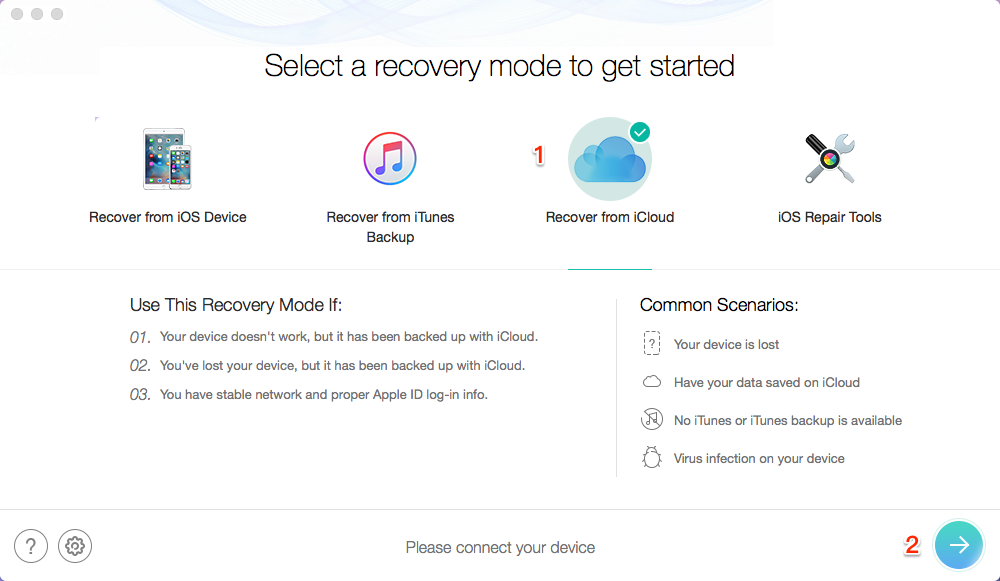 How to Recover Lost iPhone Backup with PhoneRescue for iOS - Step 1