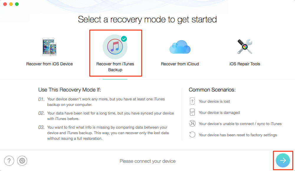 Recover Deleted Text Messages on iPhone SE from iTunes Backup – Step 1