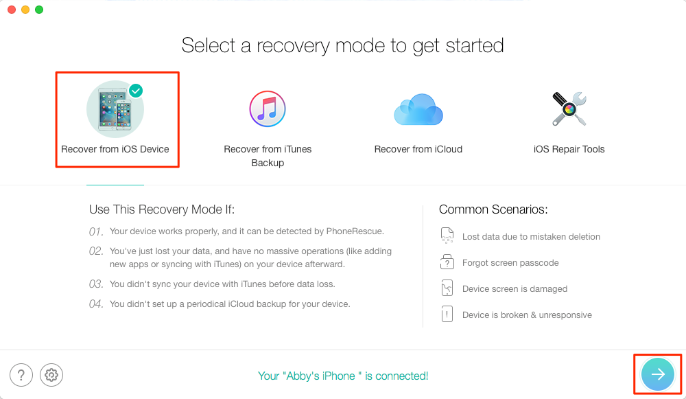 Alt: How to Recover Deleted Notes on iPhone 7/7 Plus – Step 1