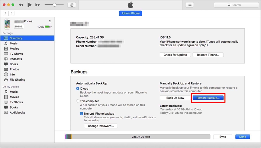 How to Recover Deleted Notes on iPhone 7 with iTunes – Step 2
